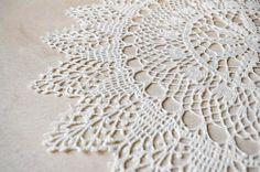Table decoration large crochet doily elegant white by Edangra, $32.00