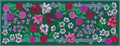 Scarf Winter Blossoms - colour: green