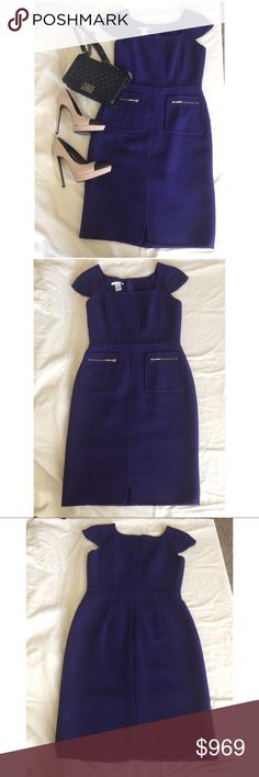 "Oscar de la Renta Dress Brand New Purple Oscar de la Renta wool kinit midi sheth Dress, dual zip pockets and concealed zip clousure at center purple. 90% Wool, 10% Poyamide, Lining 100% Silk. Made in Italy.  Size: L| | US 10 Bust: 36"" Waist: 30"" Hip: 42"" Length: 41"" Oscar de la Renta Dresses Midi"