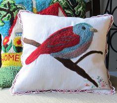Handmade Red Bird Pillow