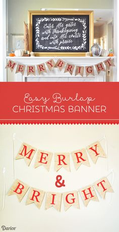 Easy Merry and Bright Burlap Christmas Banner - includes printable template