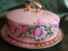 Antique Limoges Elite Hand Painted Butter Dish Cheese Plate Pink Flowers Gold | eBay