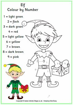 Christmas elf colour by number page
