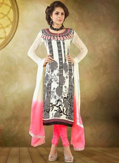 #Graceful #Cream #Printed #Crepe #Churidar Suit