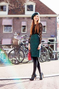 Retro Blogger Outfit with sheer polka dot top, green beret and vintage emerald skirt