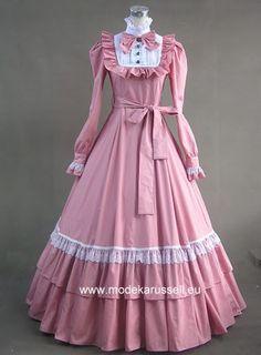 Braut / Abendkleid in Colonial Style Light Pink / Weiß - Wedding Dresses Platform Vestidos 1950 Vintage, Vintage Gowns, Modest Dresses, Modest Outfits, Stylish Dresses, Lolita Fashion, Hijab Fashion, Old Fashion Dresses, Sleeves Designs For Dresses