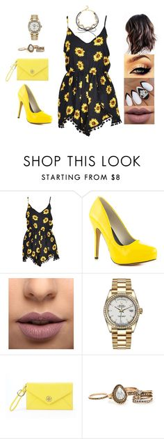 """Untitled #4432"" by sigalv ❤ liked on Polyvore featuring Michael Antonio, LASplash, Rolex, Tory Burch and BaubleBar"