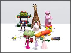 """Toy Collection by PurplePaws.  """"Upload to Free sites only. You may include with Lots. You may include with Sims. Please give credit with a link when using my work.""""  [Free, Share-Friendly]"""