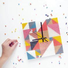 DIY Clock hama perler beads by Frkhansen
