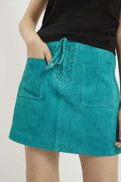 Topshop - Lace-Up Suede Skirt
