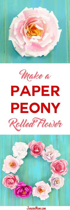 Rolled Paper Peony Flower | Quilled Flower | http://JenuineMom.com