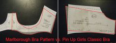 Comparing Pin-Up Girls Classic Bra pattern with Orange Lingerie Marlborough Bra Pattern