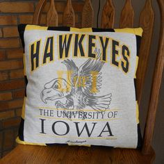 IOWA Hawkeyes T-Shirt Pillow 18 X 18 Hawkeyes by MossReCreations Iowa Hawkeye Football, Iowa Hawkeyes, Pillow Forms, Pillow Inserts, Pillow Covers, Gifts For Sports Fans, Memory Pillows, Comfortable Pillows, Man Cave Garage