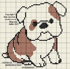 Grille gratuite point de croix : Chien marron et blanc Cute Cross Stitch, Cross Stitch Animals, Cross Stitch Charts, Cross Stitch Patterns, Cross Stitching, Cross Stitch Embroidery, Embroidery Patterns, Pixel Pattern, Dog Pattern