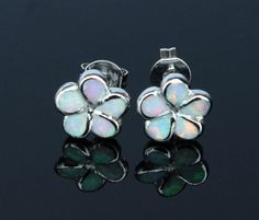 Plumeria Flower Fire Opal Stud Earrings - 3 Colors - FREE SHIPPING!