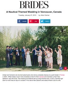 Brides: A Nautical-Themed Wedding in Vancouver, Canada Nautical Wedding Invitations, Nautical Wedding Theme, Wedding Themes, Nicole Miller Wedding Dresses, Wedding Dresses Photos, Wedding Couples, Wedding Bride, Brides And Bridesmaids, Bridesmaid Dresses