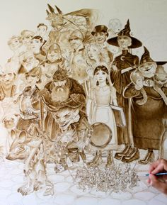 Paul Kidby Official Page Back at work on Discworld Massif' piece, almost half way through the underpainting stage now...