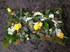 Yellow floral woodland pillow. Sympathy, funeral arrangement.