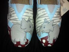 Hand painted elephant TOMS by MyHeartToYourSole on Etsy, $105.00