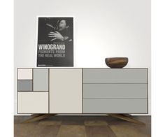 Credenza De Madera Rustica : The metal sideboard is composed of panels cut from end