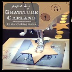 Paper Bag Gratitude Garland | Tutorial and video by thinkingcloset.com | A DIY Gratitude Garland!  A project to put our hearts in the right place as we march toward Thanksgiving and then onward to Christmas. Find the tutorial here!