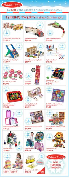 Love these gift ideas from @Melissa Squires & Doug Toys. Educational toys are my favorite gifts to give (and receive). Save $ 10 off a $ 100 purchase with coupon code TERRIFICTWENTY. Expires 11/9.