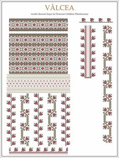 Semne Cusute: model iie Valcea Embroidery Sampler, Folk Embroidery, Embroidery Patterns Free, Beading Patterns, Cross Stitch Patterns, Machine Embroidery, Modern Embroidery, Found Object Jewelry, Wedding Album Design