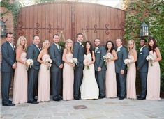 Gray suits with light pink dresses