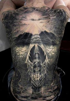 Angel Back Tattoos For Men - Best Angel Tattoos: Cool Angel Tattoo Designs and Ideas For Men - Guardian Angels, Warrior Angels, Praying Payasa Tattoo, Backpiece Tattoo, Tatoo Art, Sick Tattoo, Tattoo Flash, Tattoo Life, Paint Tattoo, Laser Tattoo, Tattoo Moon