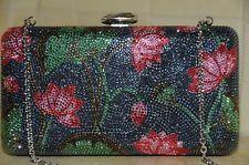$4.5K NEW JUDITH LEIBER LOTUS FLOWERS Minaudiere Bag Silver Pink Blue Green
