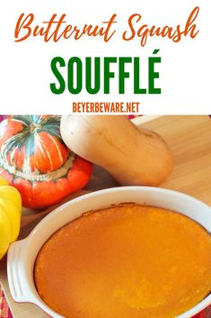Butternut squash souffle recipe is an easy fall side dish that people will swear tastes like a dessert but yet is allowed on the dinner plate. A sweet and savory fall casserole to make in place of a pumpkin or sweet potato side dish. Thanksgiving Recipes, Fall Recipes, Holiday Recipes, Creme Brulee, Pumpkin Recipes, Vegetable Recipes, Veggie Meals, Fall Casseroles, Sweet Potato Side Dish