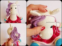 In this article we will share amigurumi rainbow amigurumi free crochet pattern. You can find everything you want about Amigurumi. Crochet Unicorn Pattern, Cat Pattern, Crochet Patterns Amigurumi, Amigurumi Doll, Crochet Dolls, Free Pattern, Knitted Animals, Rainbow Unicorn, Yarn Colors