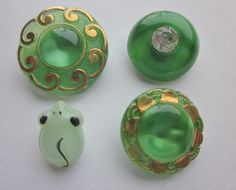 Green Moonglows!  Realistic Mouse Moonglow.  Paste Trim Green Moonglow Gold Luster Trim Moonglow Medium Moonglow OneWomanRepurosed B 398 by OneWomanRepurposed on Etsy