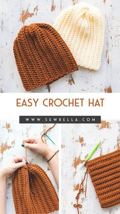 Easy crochet hat made from a rectangle! This beginner friendly free pattern is quick (using bulky weight yarn) and utilizes simple stitches. Ribbed Crochet, Easy Crochet Hat, Crochet Cap, Crochet Crafts, Free Crochet, Easy Things To Crochet, Simple Crochet, Crochet Projects, Beanie Pattern Free