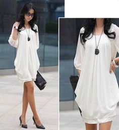 Refreshing Casual Plus Size Three Quarter Sleeves Scoop Neck Chiffon Dress For WomenDresses   RoseGal.com