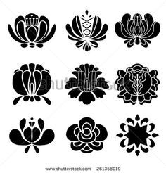 Set hand drawn black silhouettes flowers isolated on a white background. Floral icons.Tattoo. Art logo design - stock vector