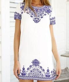 Retro Round Neck Short Sleeve Printed Dress FG51014JH on Luulla