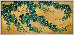 Morning Glories, Edo period (1615–1868), 19th century  Suzuki Kiitsu (Japanese, 1796–1858)  Pair of six-panel folding screens; ink, color, and gold on gilded paper