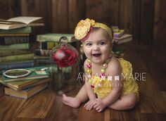 Canary yellow lace romper | Belle from Beauty and the Beast inspired photoshoot by Anna Marie Photography. Headband by Birdie Baby Boutique