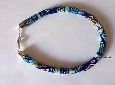 Bead Crochet Necklace  Beaded Necklace  Dark Blue by alevduzen, $65.00
