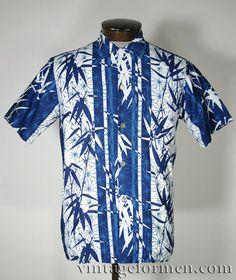 Vintage 50s Blue Bamboo Print Hawaiian Shirt #vintageformen #vintage #hawaiiana #hawaiianshirt #vintagehawaiian #mensvintage #vintagemenswear #tiki