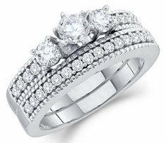 Three Stone Diamond Engagement Wedding Rings Set 14k White Gold (1 CT) Jewel Roses. $1709.00