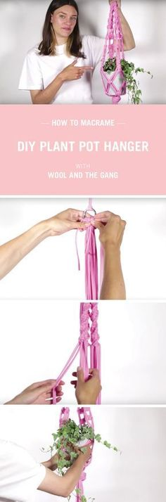 How to make a plant pot hanger full video tutorial with Wool and the Gang.