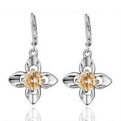 Graceful Elegant Wedding Party CZ Diamond Flower Dangle Earring White Gold-Electroplated Fashion Jewelry for Women Girl