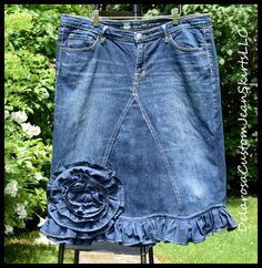 Ready to ship Denim skirt Of the Rose ruffle by CustomJeanSkirts on Etsy