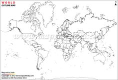 Buy World Outline Map, highlights administrative boundaries of the World. Outline Map of World is available in different resolutions and sizes. World Wide Map, Blank World Map, World Map Template, Free Printable World Map, World Map Coloring Page, Coloring Pages, World Map Stencil, World Map Outline, Map Worksheets