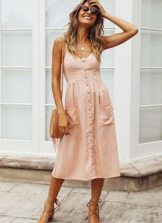 Used To Know You Midi Dress Pink, Spring Outfits, Lovely midi dress for summer. Summer Outfits Women 30s, Summer Dress Outfits, Casual Summer Dresses, Spring Outfits, Short Dresses, Summer Clothes, Pink Dress Casual, Dress Summer, Summer Work Wear