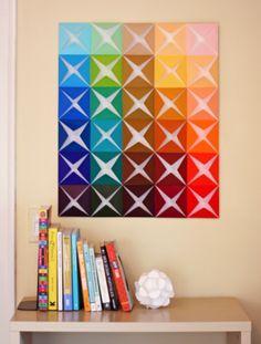 Colori colori colori fai da te origami wall art, diy wall art e paper wall Diy Wand, Paper Wall Art, Diy Wall Art, Diy Artwork, 3d Wall, Paper Walls, Nature Artwork, Diy Paper, Paper Crafting