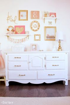 Darling girls room gallery wall decor! Love the chippy glam dresser makeover! So easy to paint, cute girls room decor ideas!