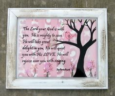 This would be so cute in a nursery, you can customize it to any verse.